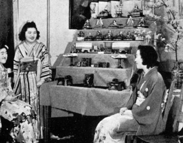 Japanese students with display of artifacts  (1940) Photo: UBC A.M.S./University Archives, Totem  (1940)