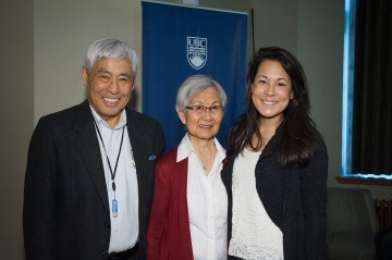 Tosh (left) and Mary (centre) Kitagawa with their granddaughter at the Addressing Injustice symposium in March 2012. Photo by Don Erhardt