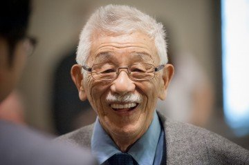 Dr. Sus Tabata, the first Japanese Canadian student to return to UBC after the internment at the the Addressing Injustice symposium. Photo by Don Erhardt